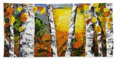 Birch Trees In Fall Pallete Knife Painting Beach Sheet