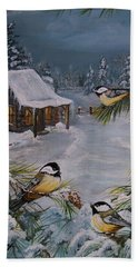 Black Capped   Chickadee's  Beach Towel