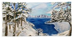 Beach Towel featuring the painting  Blanket Of Ice by Sharon Duguay