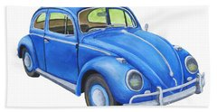 Blue Volkswagon Beetle Painting Beach Sheet
