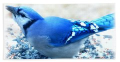 Bright Blue Jay  Beach Towel by Peggy Franz