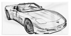 C5 Corvette Convertible Muscle Car Illustration Beach Sheet