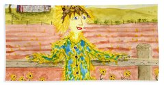 Cheerful Scarecrow Beach Towel