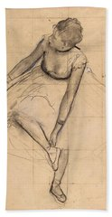 Dancer Adjusting Her Slipper Beach Towel by Edgar Degas