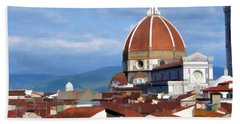 Beach Towel featuring the photograph  Duomo Of Florence # 3 by Allen Beatty
