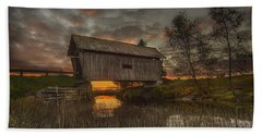 Foster Covered Bridge Sunset Beach Towel