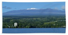 Beach Sheet featuring the photograph  Hawaii's Snow Above Hilo Bay Hawaii by Lehua Pekelo-Stearns