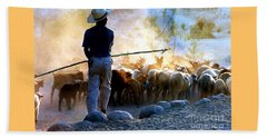 Herder Going Home In Mexico Beach Towel