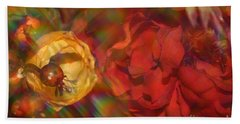 Beach Towel featuring the photograph  Impressionistic Bouquet Of Red Flowers by Dora Sofia Caputo Photographic Art and Design