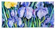 Irises  Beach Towel by Trudi Doyle