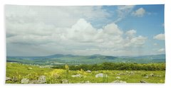 Large Blueberry Field With Mountains And Blue Sky In Maine Beach Sheet