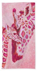 Loving Pink Giraffes Beach Towel