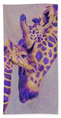 Loving Purple Giraffes Beach Sheet by Jane Schnetlage