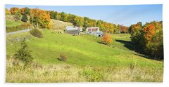 Maine Farm On Side Of Hill In Autumn Beach Sheet