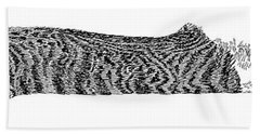 Skippy The Manx Cat Sleeping Beach Towel by Jack Pumphrey