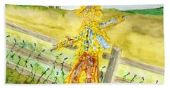 Napping Scarecrow Beach Towel