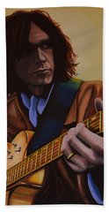Neil Young Painting Beach Towel