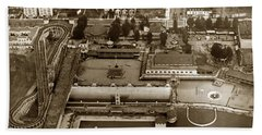 Neptune Beach Olympic Size Swimming Pool And A Roller Coaster Alameda Circa 1920 Beach Towel