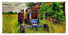 Old Ford Tractor Beach Towel by Savannah Gibbs