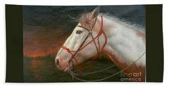 Original Animal Oil Painting Art-horse#16-2-5-21 Beach Towel