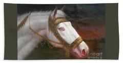 Original Animal Oil Painting Art-horse-03 Beach Sheet