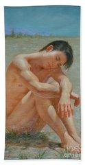 Original Classic  Oil Painting Gay Man Body Art Male Nude #16-2-5-44 Beach Sheet