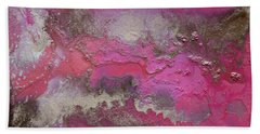 Pink And Gold Abstract Painting Beach Towel
