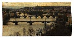 Prague Landscape With Vltava River Beach Towel