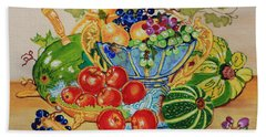 Red Apples And  Grapes Oil Painting Beach Towel