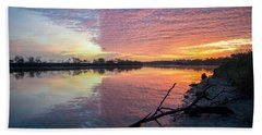River Glows At Sunrise Beach Towel by Leticia Latocki
