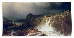 Rocky Landscape With Waterfall In Smaland Beach Towel