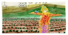 Scarecrow With Nesting Companion Beach Towel