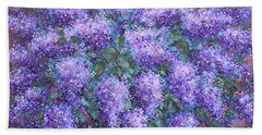 Beach Towel featuring the painting  Scented Lilacs Bouquet by Natalie Holland