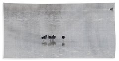 Beach Sheet featuring the photograph  Stilt Friends In The Fog by Tom Janca