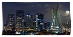 Supermoon In Sao Paulo - Brazil Skyline Beach Towel