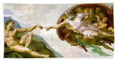 The Creation Of Adam Beach Sheet by Michelangelo di Lodovico Buonarroti Simoni