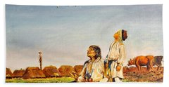 Beach Towel featuring the painting End Of The Summer- The Storks by Henryk Gorecki