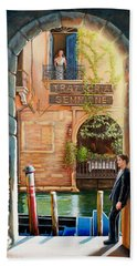 Thinking Of You Trattoria Sempione San Marco 578 Venezia Beach Towel