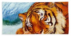 Beach Towel featuring the painting  Tiger Sleeping In Snow by Bob and Nadine Johnston