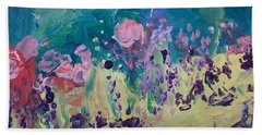 Beach Sheet featuring the painting  Tranquility Garden by Judith Desrosiers