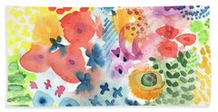 Watercolor Garden Beach Towel