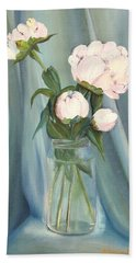 White Flower Purity Beach Towel