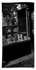 Beach Towel featuring the photograph  Window Display Night Of Elvis Presley's Death Recordland Portland Maine  1977 by David Lee Guss