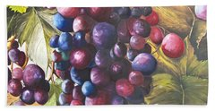 Wine Grapes On A Vine Beach Sheet