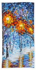 Silence Winter Night Light Reflections Original Palette Knife Painting Beach Towel