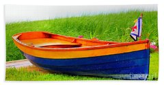 Beach Towel featuring the photograph  Wood Row Boat by Judy Palkimas