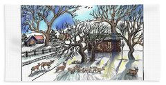 Beach Towel featuring the drawing  Wyoming Winter Street Scene by Dawn Senior-Trask