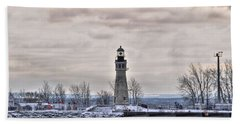 01 Winter Light House Beach Towel by Michael Frank Jr