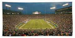 0614 Prime Time At Lambeau Field Beach Towel