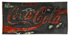 Coca Cola Sign Grungy  Beach Sheet by John Stephens